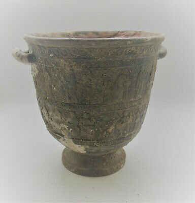 Ancient Greek Terracotta Twin Handled Corinthian Vessel 500Bce Superb