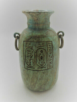 Circa 600Bce Ancient Egyptian Glazed Faience Vessel With Heiroglyphics Rare