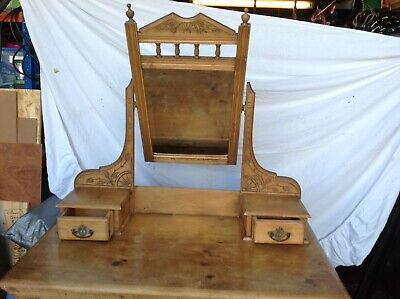 Beautiful Antique Stripped Pine Dressing Table with Original, adjustable Mirror