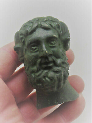 European Finds Ancient Roman Bronze Statue Fragment Head Of Bearded Male