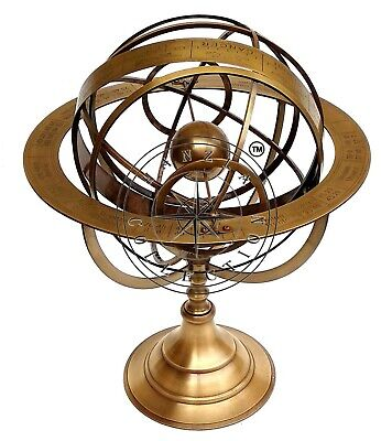 "18"" Astrolabe Brass Armillary Sphere Antique Nautical Collectible Vintage Globe"