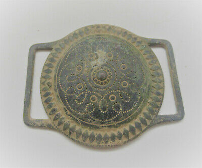 European Finds Ancient Roman Or Medieval Bronze Shield Application Rare