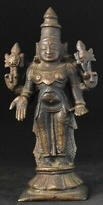 Antique Indian Vishnu standing bronze about 6 inches