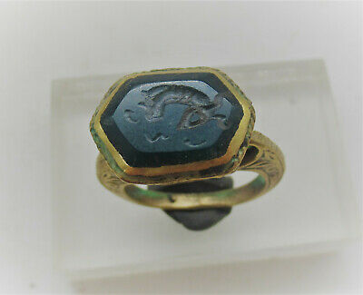 Superb Late Medieval Islamic Gold Gilded Ottoman Seal Ring Carnelian Intaglio