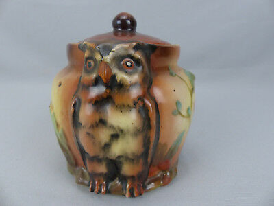 Antique Handpainted Austrian Porcelain Molded Owl Covered Jar or Humidor