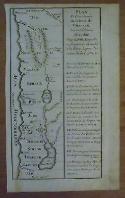 TRIBES OF ISRAEL LOCATED IN PALESTINE -  1722 Copperplate Calmet Holy Land Map