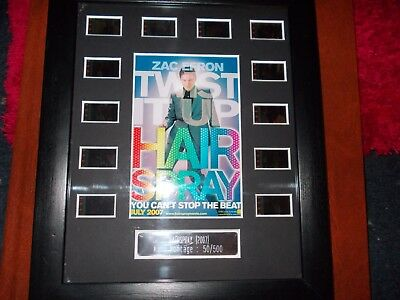 RARE zac efron hairspray 35mm film cells COA black framed unique mini montage