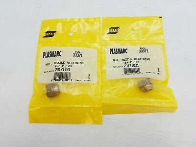 2 PC ESAB Plasmarc 33371 Nozzle Retaining Nut PT-23 Torch Welding Equipment NOS
