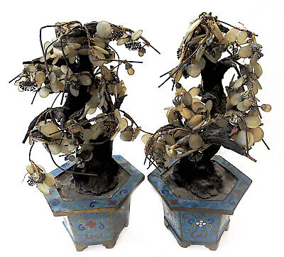 JADE Trees CLOISONNE Chinese ANTIQUE Pair
