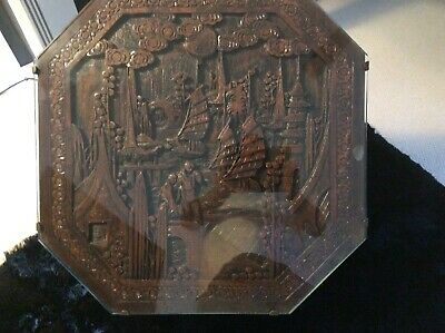 Vintage Oriental Carved Round Glass Top Folding Wooden Table - Chinese