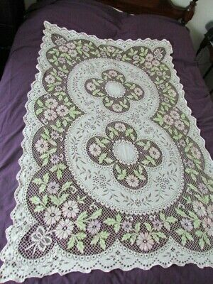 Vintage Oatmeal Quaker type lace Floral Scroll Victorian tablecloth Tinted Pink