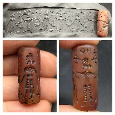 Wonderfull Old Carnliean Agte Complte Roman History Craved Intaglio Cylinder Sel