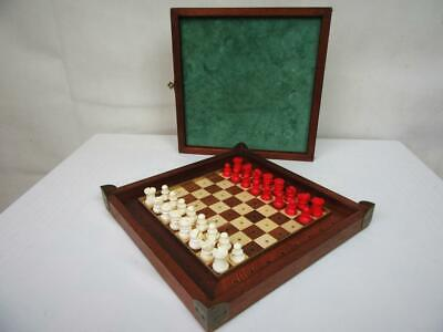 Antique Vintage Travel Chess Set  Fine English Pegged Pieces  And Box