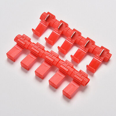 10x Red Electrical Cable Connectors Quick Splice Lock Wire Terminals Crimp LC#W