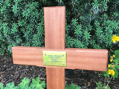 44'' Wooden Memorial Cross Solid Mahogany Grave Marker - Personalised Plaque