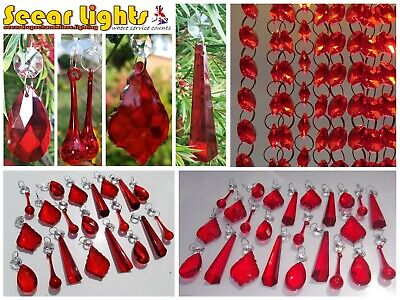 Red Sun Catcher Chandelier Glass Crystals Drops Droplets Beads Light Feng Shui