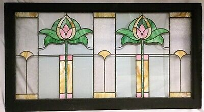 Antique c1915 Arts & Crafts Stained Glass Transom Window Lotus Flower Water Lily