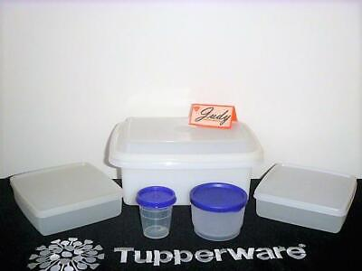 Tupperware WHITE Lunch Box+Snack Cup+2-Sandwiches+ Midget BLUE seals~Pak-N-Carry