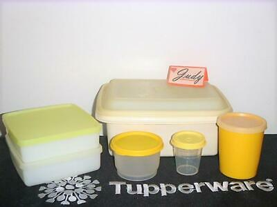 Tupperware Ivory Lunch Box+ Snack Cup+ 2-Sandwiches+ Tumbler+ Midget Pak-N-Carry
