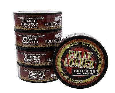 Fully Loaded Chew Tobacco and Nicotine Free Straight Bullseye Long Cut Authen...