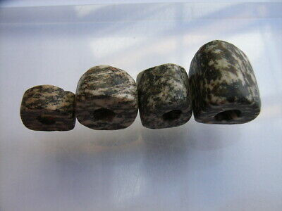 4 Ancient Neolithic Granite Beads, Stone Age, TOP !  RARE !!