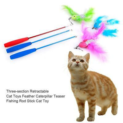 3 Section Retractable Funny Interactive Pet Cat Teaser Feather Fishing Rod Stick