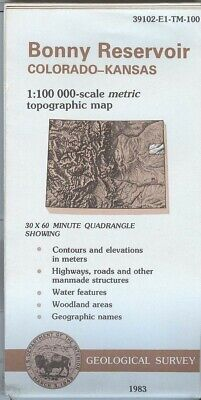 USGS Topographic Map BONNY RESERVOIR - Colorado Kansas - 1983 - 100K