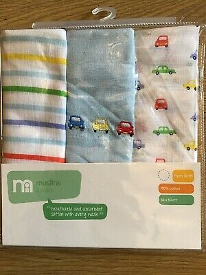 Mothercare On The Road Pack 3 Muslins / Burp Cloths Suitable From Birth 🚗🚗