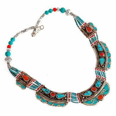 Lovely Designer Turquoise Red Coral Gemstone Jewelry Tibetan Necklace 18'' Bc705
