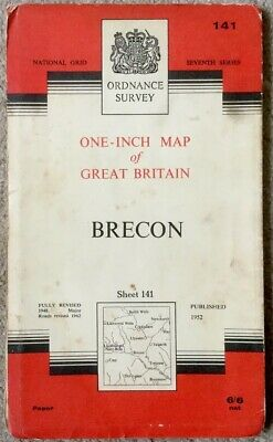 National Grid Published 1952 Ordnance Survey One-Inch Map Of Brecon Sheet 141.
