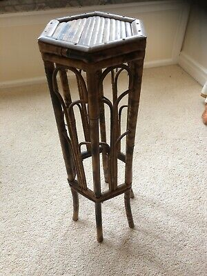Antique Victorian Bamboo Stand Plant Stand Torchere Side Table