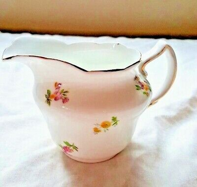 Vintage Collingwoods Bone China Jug With A Design Of Pink Yellow And Blue Posies