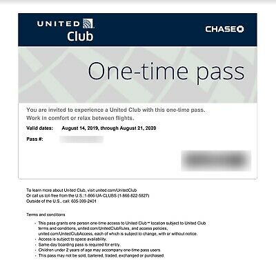 2 Passes for United Club One Time Pass EXP 8/14/2020