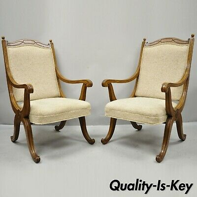 Pair Vtg Hollywood Regency Curule Savonarola Upholstered Back X-Frame Arm Chairs