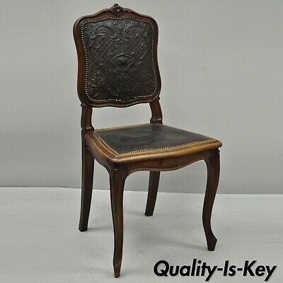 Antique French Louis XV Style Fancy Brown Embossed Leather Walnut Side Chair (C)
