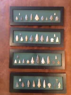 "Indian Artifacts   44 pcs  Arrow Head Collection Framed   ""Guaranteed Authentic"""