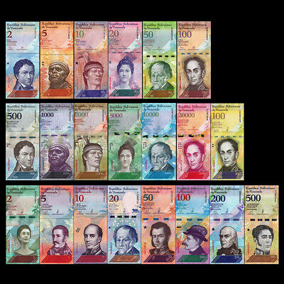 Lot Venezuela Full Set 21 PCS banknotes notes 2-100000 Bolivares 2007-2019 UNC