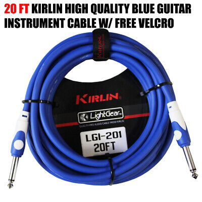 "Kirlin 20 ft Guitar Instrument Patch Cable Cord Free Cable Tie 1/4"" BLUE LGI-201"