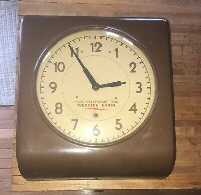 Antique 1940's Self Winding Clock Co. Western Union Naval Observatory Time Clock