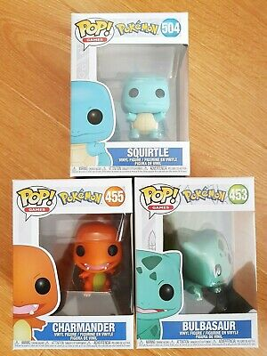 Funko Pop! Pokemon - Squirtle #504, Charmander #455 & Bulbasaur #453 (Brand New)