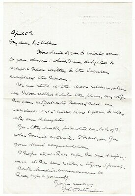 Sir Doveton Sturdee - Admiral of the Fleet - 1921? letter to painter Arthur Cope