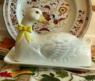 Vintage Otagiri Two Piece Butter Dish - White Duck w/ Yellow Bow Japan - F2