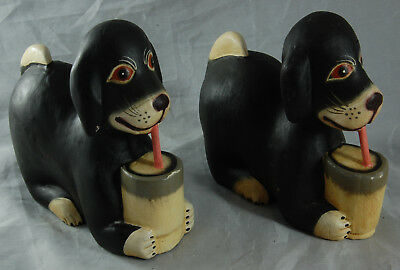 Rare Pair of Vintage Black Wooden Dogs - Beagles?
