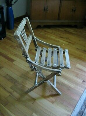 Vintage Child's Folding Wooden Wood Chair Mid Century