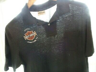 Vtg 80s Zepka Harley-Davidson Cycles Johnstown PA Thin 5050 Black Polo Shirt S/M