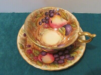 Vintage Aynsley England Bone China Gold Orchard Fruit Tea Cup and Saucer