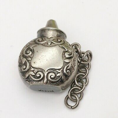 Antique Victorian Solid Silver Sterling Perfume Scent Bottle Chatelaine Dabber