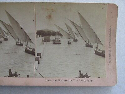 SV214 Stereoview Photo Card Sailboats on the Nile River Cairo Egypt