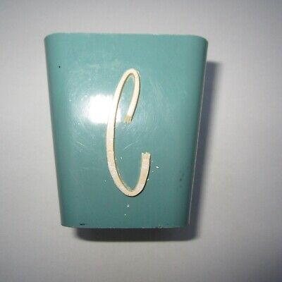 2 Vintage Plastic Canister C 1950s MCM Retro Teal Blue/Green SPICE Kitchen