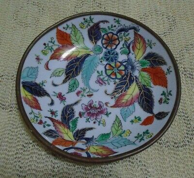 Beautiful Handpainted Bowl Made in Hong Kong - Porcelain and Brass